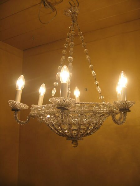 19th C. Genovese beaded basket chandelier (X17) 1