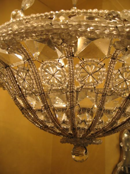19th C. Genovese beaded basket chandelier (X17) 2