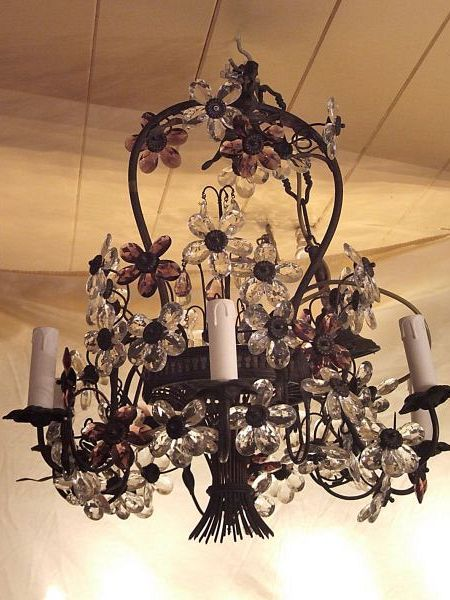 19th C. Pilutti flower and bronze chandelier (09/82)