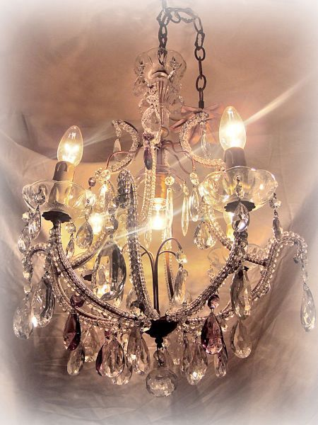 1920's Genova beaded chandelier with Amethyst (11-43)