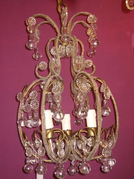 1920's Florentine beaded cage chandelier (11-92)