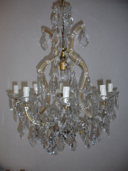 1930's pair of Maria Theresa chandeliers 9L (12-42)