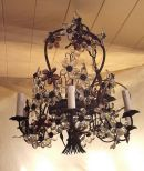 19th C. Pliutti flower and bronze chandelier (09/82)