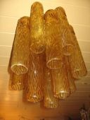 1960's Murano glass tube chandelier amber (11-58)